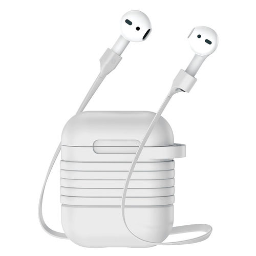 Baseus Protective Case & Magnetic Cable Strap for Apple AirPods - White